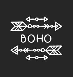 Boho aesthetic arrows chalk white icon on black vector