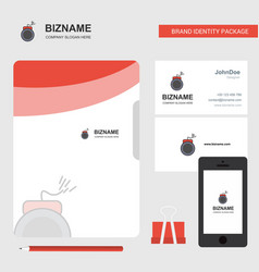 bomb business logo file cover visiting card and vector image