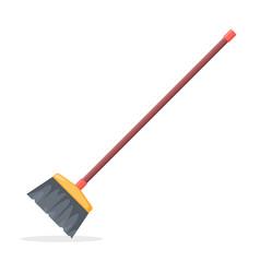 Broom mop sweep cartoon flat icon clean tidy dust vector