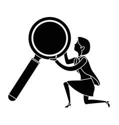 businesswoman with magnifying glass avatar vector image