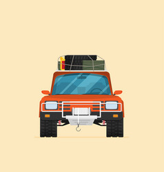 car front view off-road vehicle isolated on color vector image