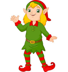 cartoon christmas girl elf waving vector image