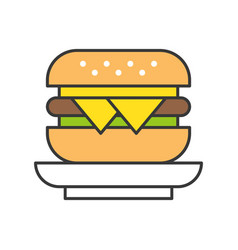cheese burger food and gastronomy set filled vector image
