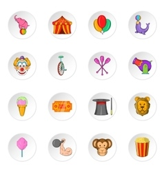 Circus icons cartoon style vector image