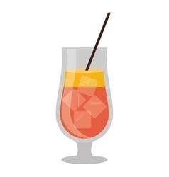 cocktail popular alcohol drink straw and ice vector image