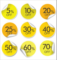 collection of yellow discount offer price labels vector image