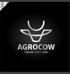 cow or bull head simple line logo vector image
