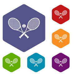 crossed tennis rackets and ball icons set vector image
