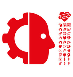 cyborg icon with valentine bonus vector image