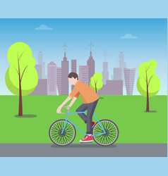 cyclist in green park color vector image