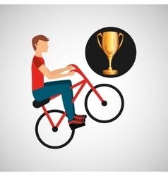 Cyclist man trophy sport design vector