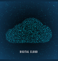 digital cloud global structure data storage vector image