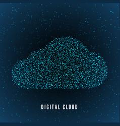 digital cloud global structure data storage vector image
