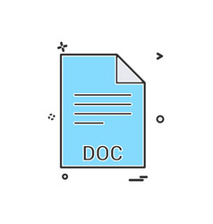 Doc file file extension file format icon design vector