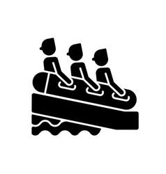 Family rafting black glyph icon vector
