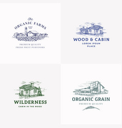 farms and cabins abstract signs symbols vector image
