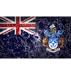 Flags Tristan da Cunha with broken glass texture vector