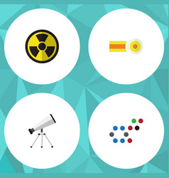 Flat icon science set of molecule scope chemical vector