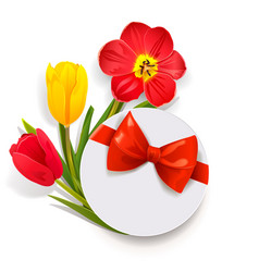 Gift box with tulips vector