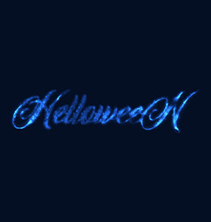 glowing inscription of halloween with neon light vector image
