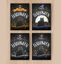 Halloween color chalked postcards designs vector