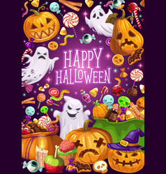 Halloween holiday ghosts and jack lanterns vector
