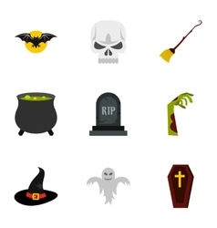 Halloween icons set flat style vector