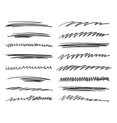 Handmade collection set underline strokes in vector