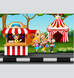 happy kids having fun in an amusement park vector image