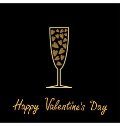 Happy Valentines Day Love card Champagne glass vector
