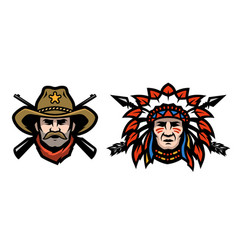 Head cowboy and indian vector