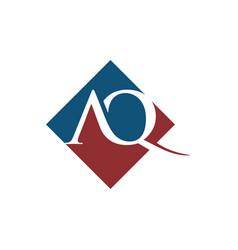 Initial aq rhombus logo design vector