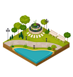 isometric fragment of park landscape vector image