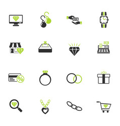 Jewerly store icon set vector