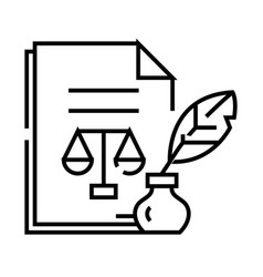 Judicial document line icon concept sign outline vector
