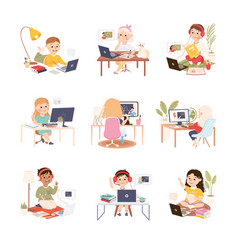 kids sitting at desk and studying online using vector image