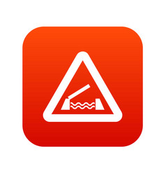 lifting bridge warning sign icon digital red vector image