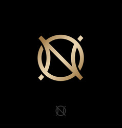 n o gold monogram luxury logo jewelry shop vector image