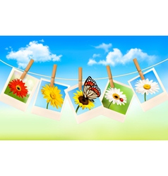 Nature background with blue sky and photos vector