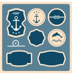 Nautical and sea icons badges and labels vector