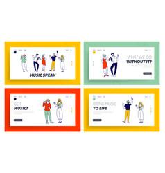 nightlife website landing page set young people vector image