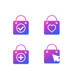 Online shopping icons with bags vector