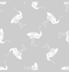 ostrich bird monochrome graphic animal seamless vector image