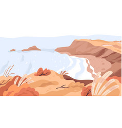 Panoramic view nature landscape with sea bay vector