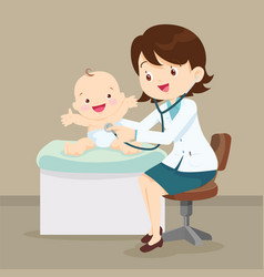 pediatrician doctor examining little baby vector image