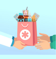 pharmacist gives bag with antibiotic drugs vector image