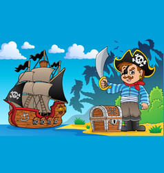 Pirate on coast theme 1 vector