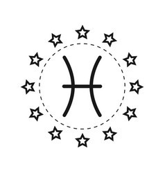 Pisces sign of the zodiac flat symbol horoscope vector