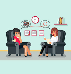 Psychologist consultation patient character flat vector