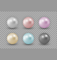 realistic pearls color pearls isolated on vector image